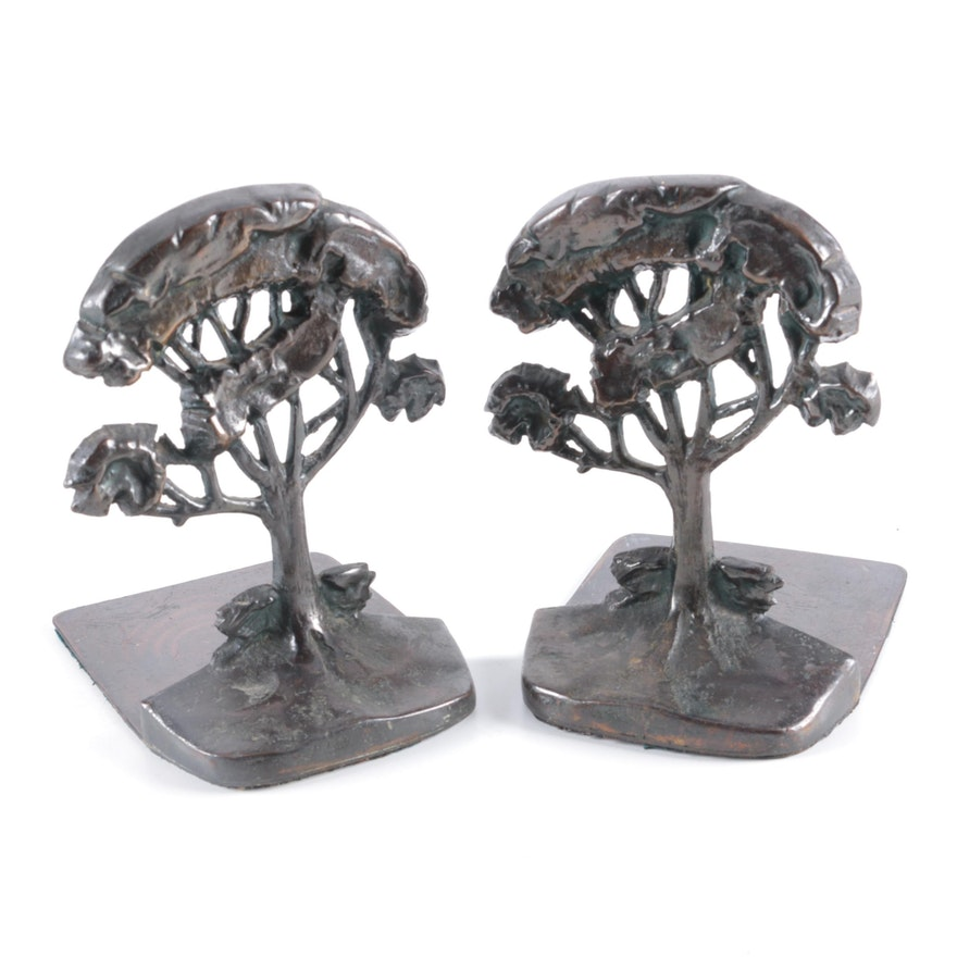 Bronzed Cast Metal Sweet Acacia Tree Bookends, Early to Mid-20th Century