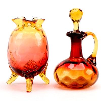 Amberina Glass Perfume Bottle and Vase, 20th Century