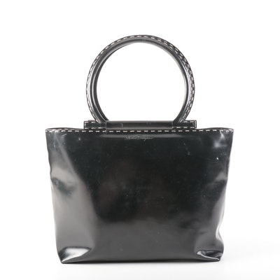 Salvatore Ferragamo Black Patent Leather Shoulder Bag with Topstitching Detail