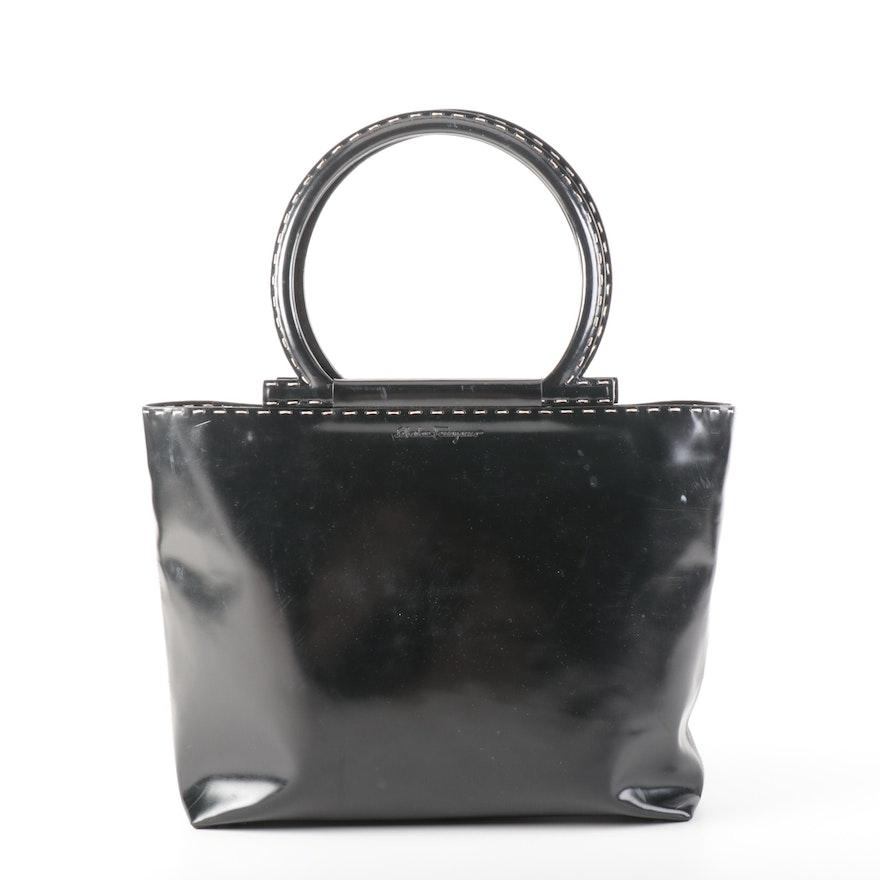 Salvatore Ferragamo Black Patent Leather Shoulder Bag with Topstitching Detail