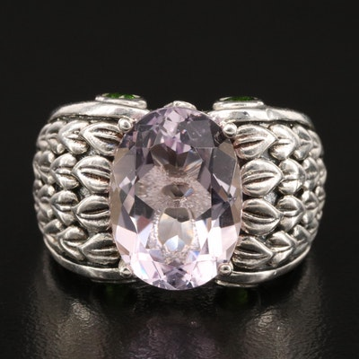 Sterling Amethyst and Diopside Ring with Foliate Shoulders