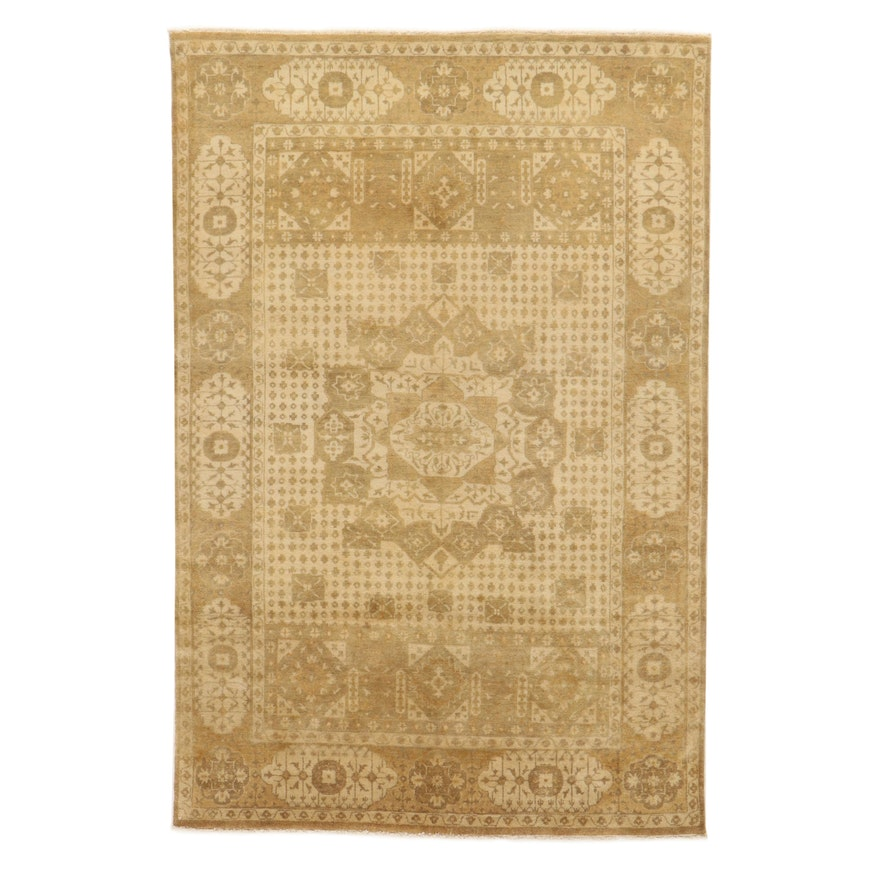 5'0 x 7'0 Hand-Knotted Indo-Persian Mamlouk Tabriz Wool Area Rug, 2010's