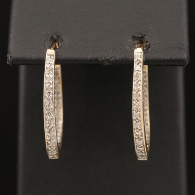 10K Diamond Elongated Inside-Out Hoop Earrings