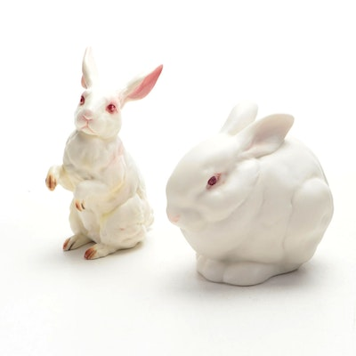 Lefton Rabbit Figurine with Other Rabbit Figurine, 20th Century