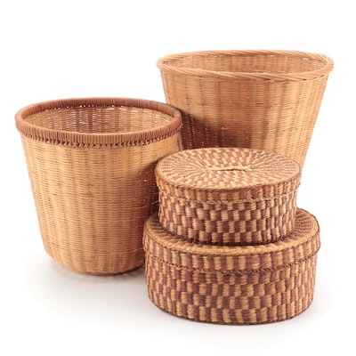 Handwoven Grass Storage Baskets and Woven Wood and Rattan Trash Receptacles