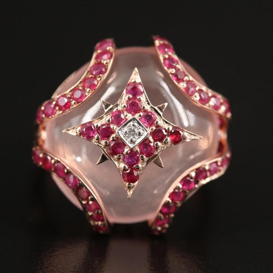 Sterling Roze Quartz, Ruby, and Diamond Ring