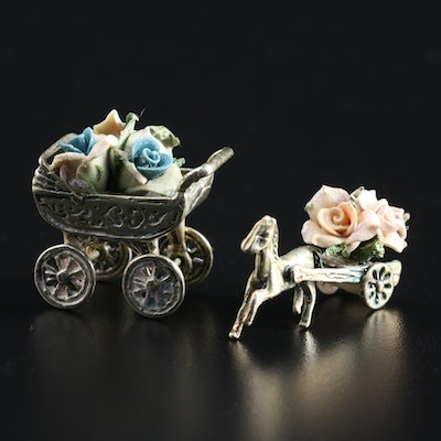 Italian 800 Silver Miniature Baby Carriage and Horse Cart