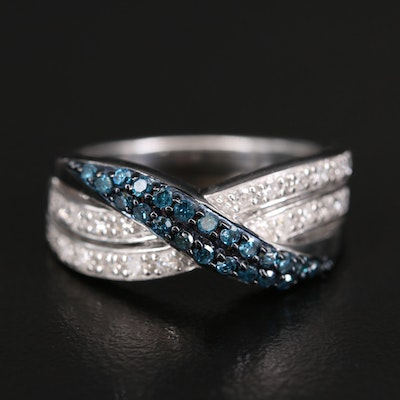 Sterling Blue and White Diamond Criss Cross Ring
