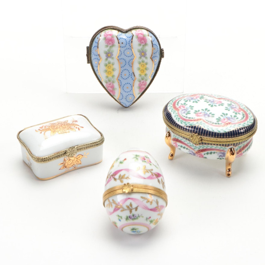 Limoges Style Floral Porcelain Heart, Egg and Other Boxes