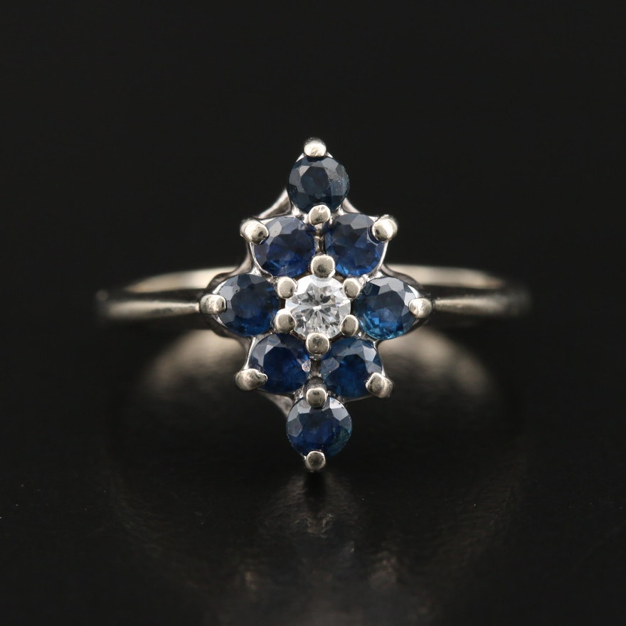 14K Sapphire and Diamond Navette Ring