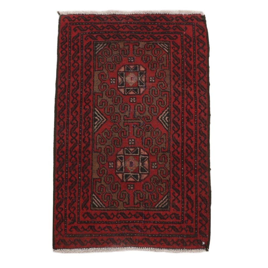 1'9 x 2'9 Hand-Knotted Persian Turkoman Wool Accent Rug, 1930's
