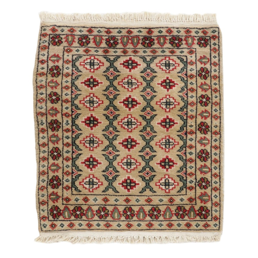 1'10 x 2'5 Hand-Knotted Persian Zanjan Wool Accent Rug, 1990's