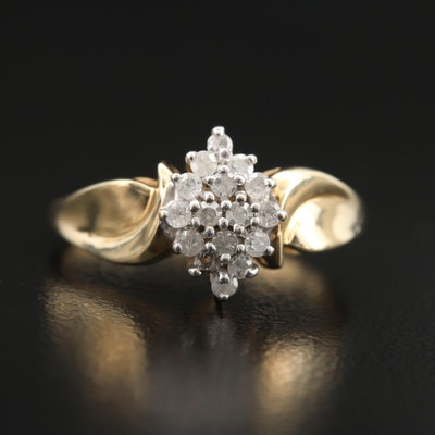 10K Diamond Cluster Navette Ring