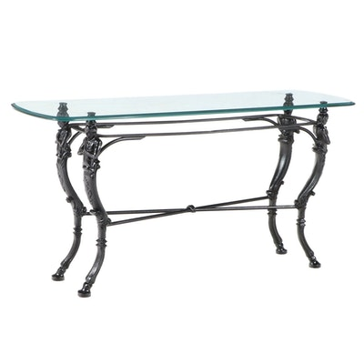 Maitland-Smith Style Glass Top Wrought Iron Hall Table