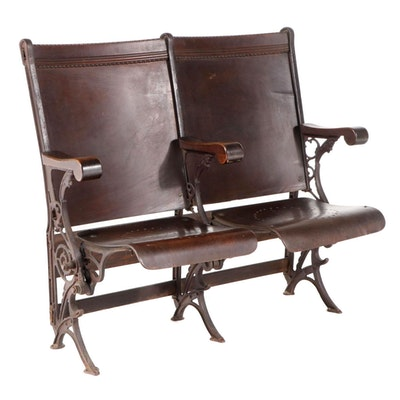 Row of Two Laminated Birch & Painted Cast Iron Folding Theater Seats, pat. 1885