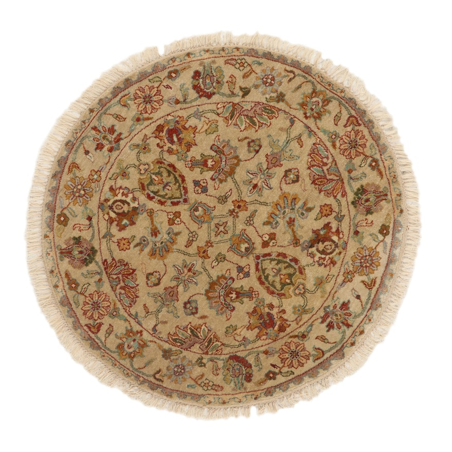4'0 Round Hand-Knotted Indo-Persian Tabriz Wool Area Rug, 2010's