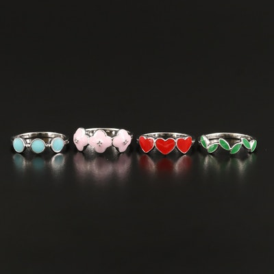 Sterling Enamel Rings Featuring Hearts and Flowers