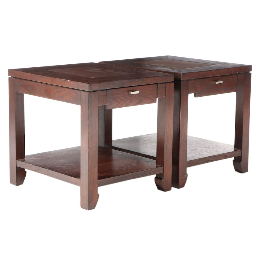 Pair of Contemporary Stained Oak Vinyl Top Side Tables