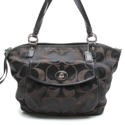 Coach Leah Signature Black Sateen Canvas Shoulder Bag