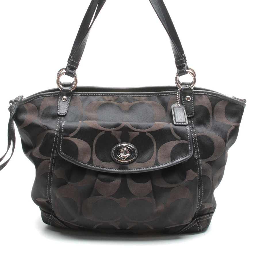 Coach Leah Signature Black Sateen Canvas Shoulder Bag