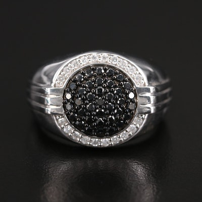 Sterling 0.63 CTW Black and White Diamond Halo Ring