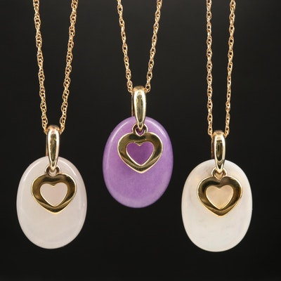 Sterling Gemstone Heart Pendant Necklaces
