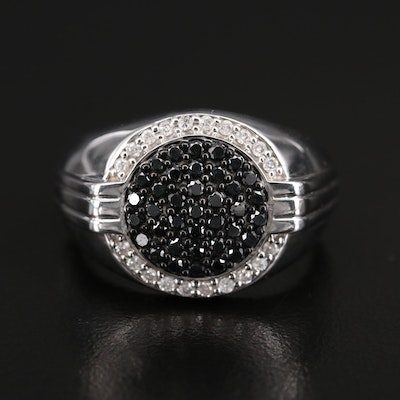 Sterling Black and White Diamond Halo Ring