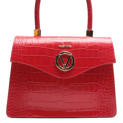 Valentino by Mario Valentino Spa Melanie Two-Way Bag in Croc-Embossed Leather