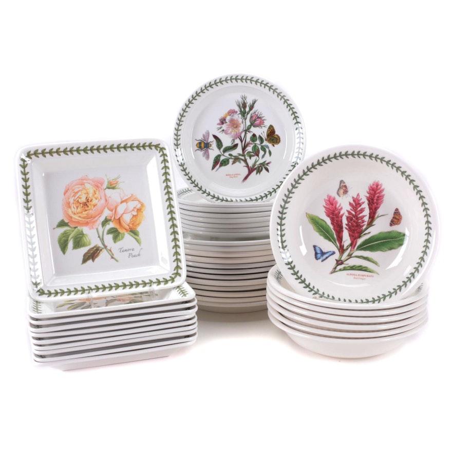 """Portmeirion """"Botanic Garden"""" Porcelain Dinner Plates and Bowl"""