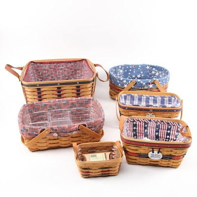 Longaberger Patriotic Decorative Baskets and Pins with Kitchen Towel