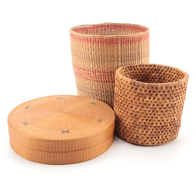 Woven Baskets Including Lidded and Polychromatic