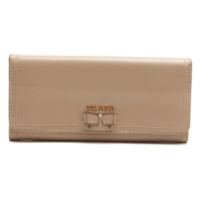 Prada Bow Flap Long Wallet in Nude Saffiano Leather