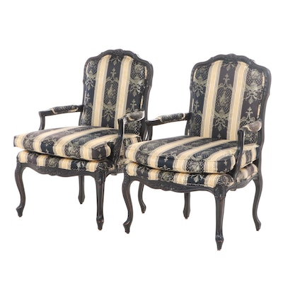 Pair of Fairfield Louis XV Style Ebonized and Custom-Upholstered Fauteuils