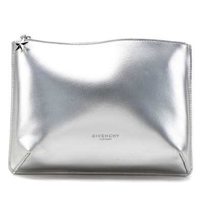 Givenchy Parfums Metallic Silver Crossgrain Faux Leather Zip Pouch