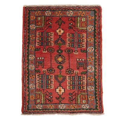 2'0 x 2'8 Hand-Knotted Persian Zanjan Wool Area Rug, 1980's