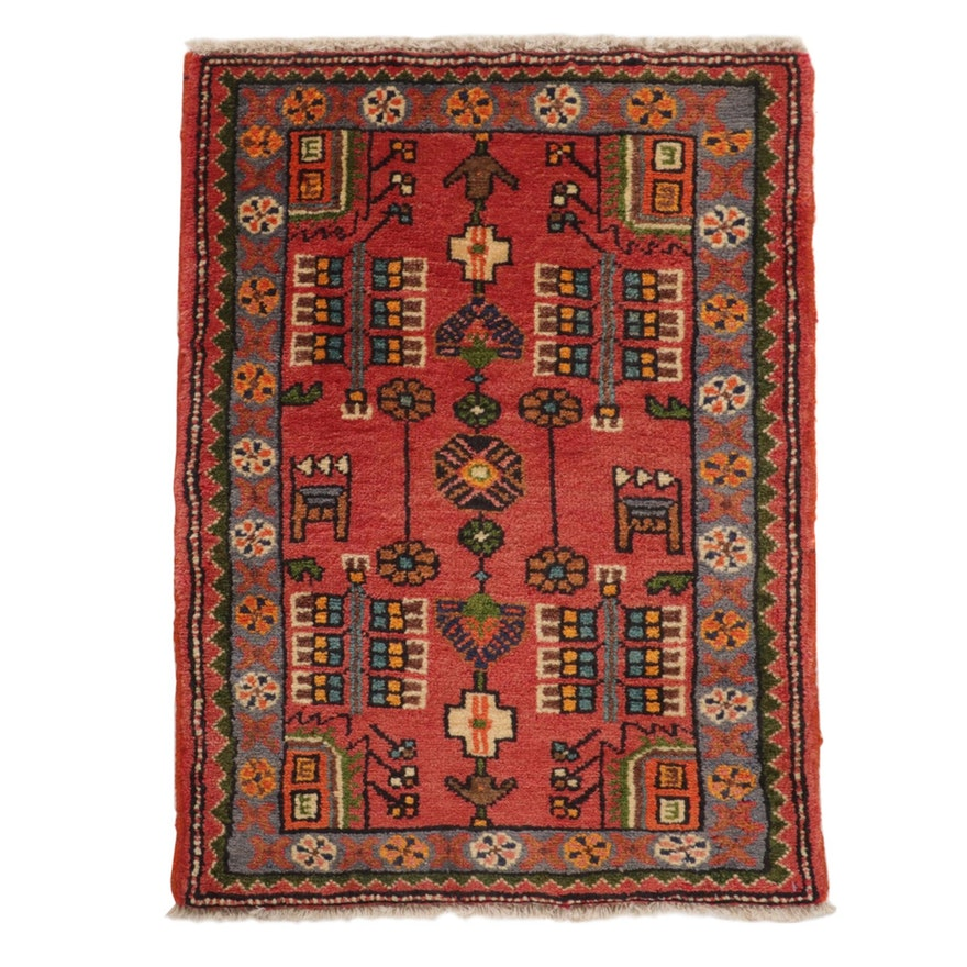 2'0 x 2'8 Hand-Knotted Persian Zanjan Wool Area Rug, 1980's
