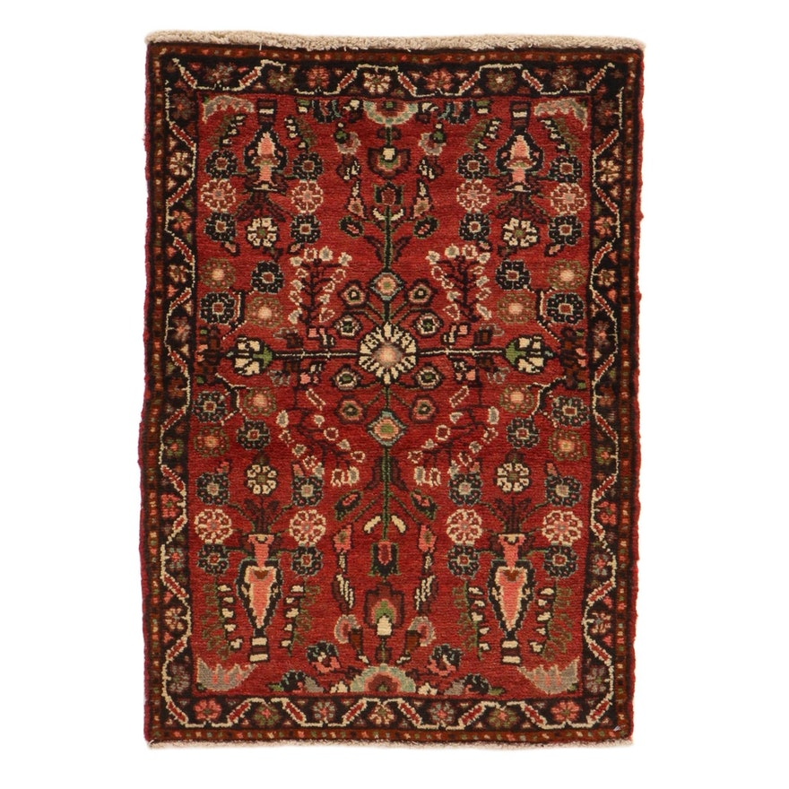 2'2 x 3'4 Hand-Knotted Persian Daragazine Wool Accent Rug, 1980s
