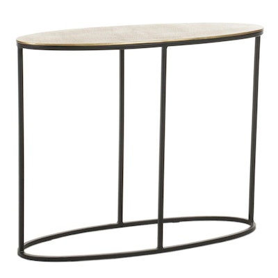 Contemporary Metal Oval Side Table, 21st Century