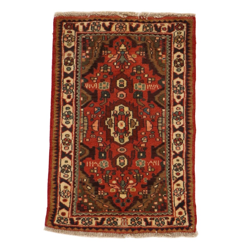 2' x 3' Hand-Knotted Persian Malayer Rug, 1980s