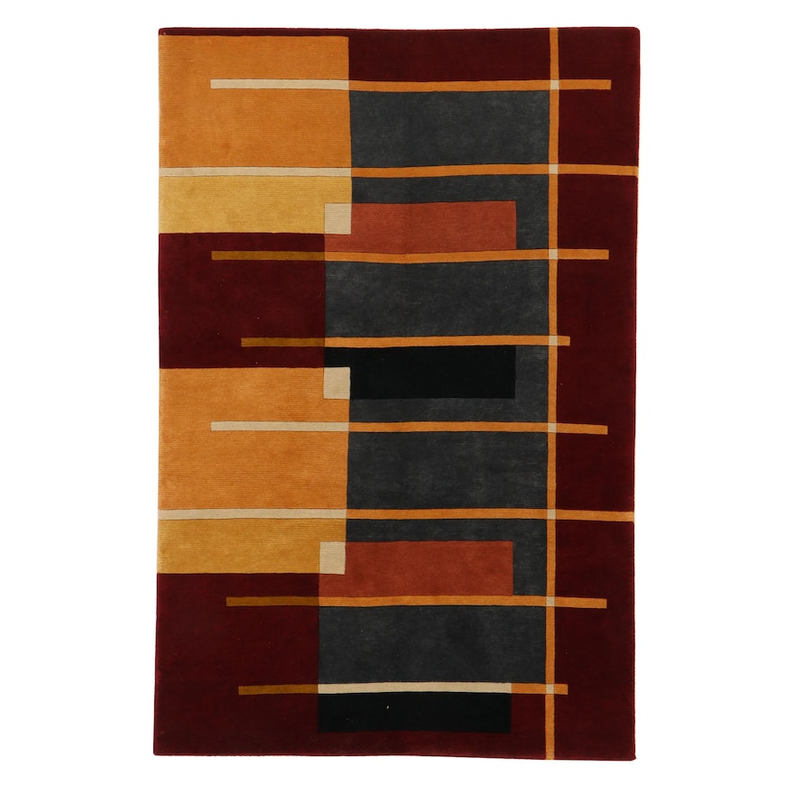5'8 x 8'6 Hand-Knotted Indo-Persian Gabbeh Rug, 2010s
