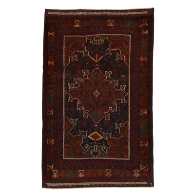 4'3 x 7' Hand-Knotted Persian Baluch Rug, 2000s