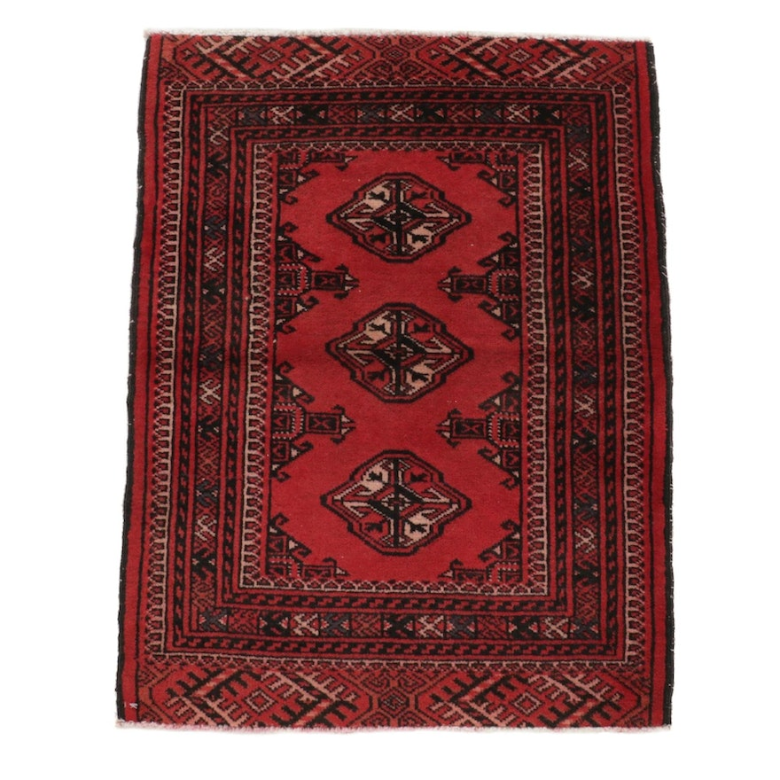 2'1 x 2'10 Hand-Knotted Persian Turkoman Wopol Accent Rug, 1970's