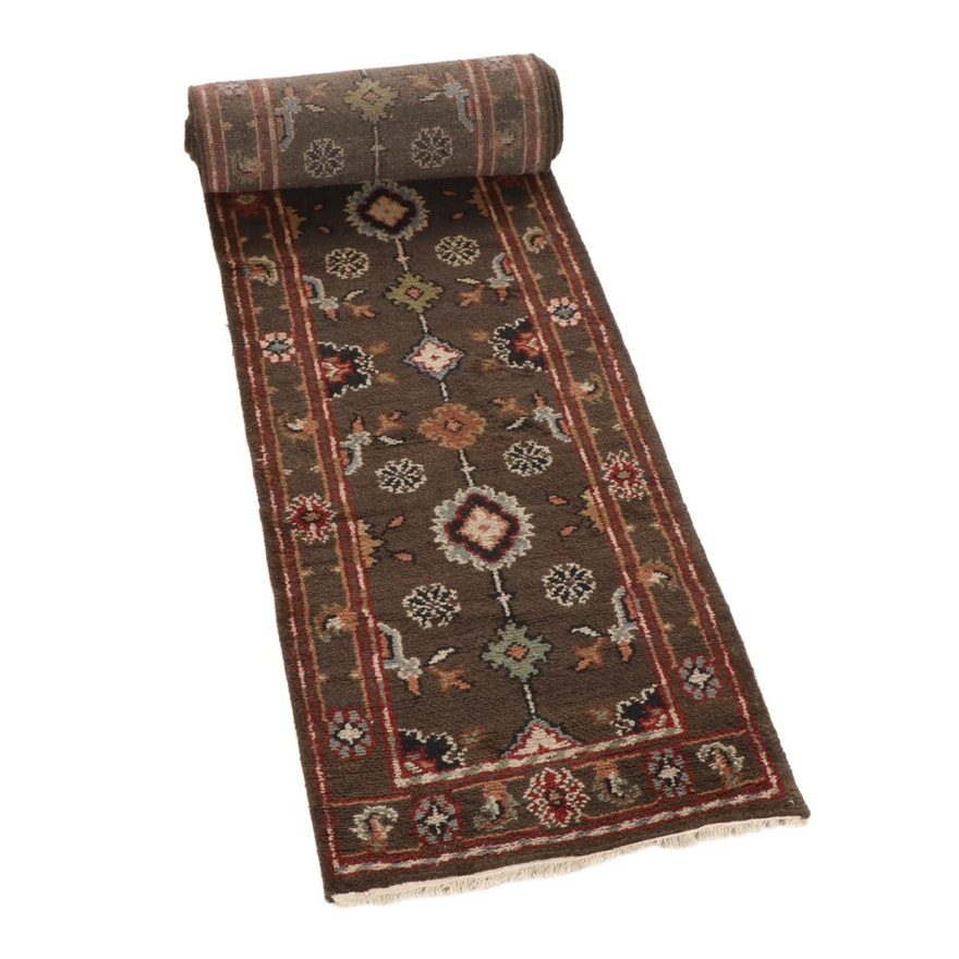2'8 x 20'2 Hand-Knotted Indo-Turkish Oushak Runner, 2010s