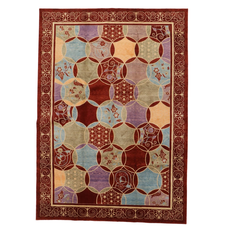 9'6 x 13'7 Hand-Knotted Pakistani Persian Tabriz Room Sized Rug, 2010s