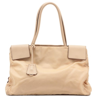 Prada Beige Tessuto Nylon Shoulder Bag with Leather Trim