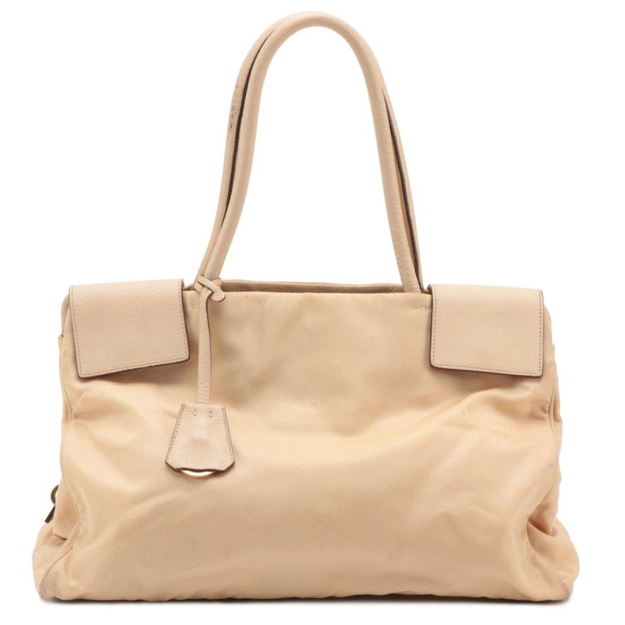 Prada Beige Tessuto Nylon Shoulder Bag with Leather Trim