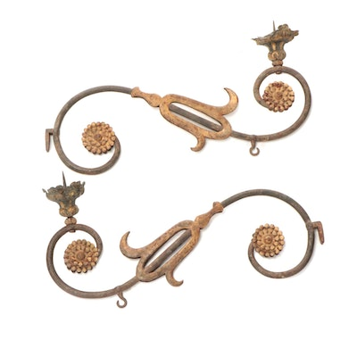Continental Iron with Gilding Wall Mount Candle Prickets, 18th Century