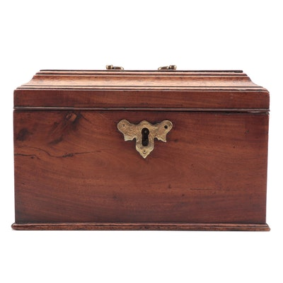 George III Mahogany Tea Caddy Fitted with Three Tin Canisters, circa 1800