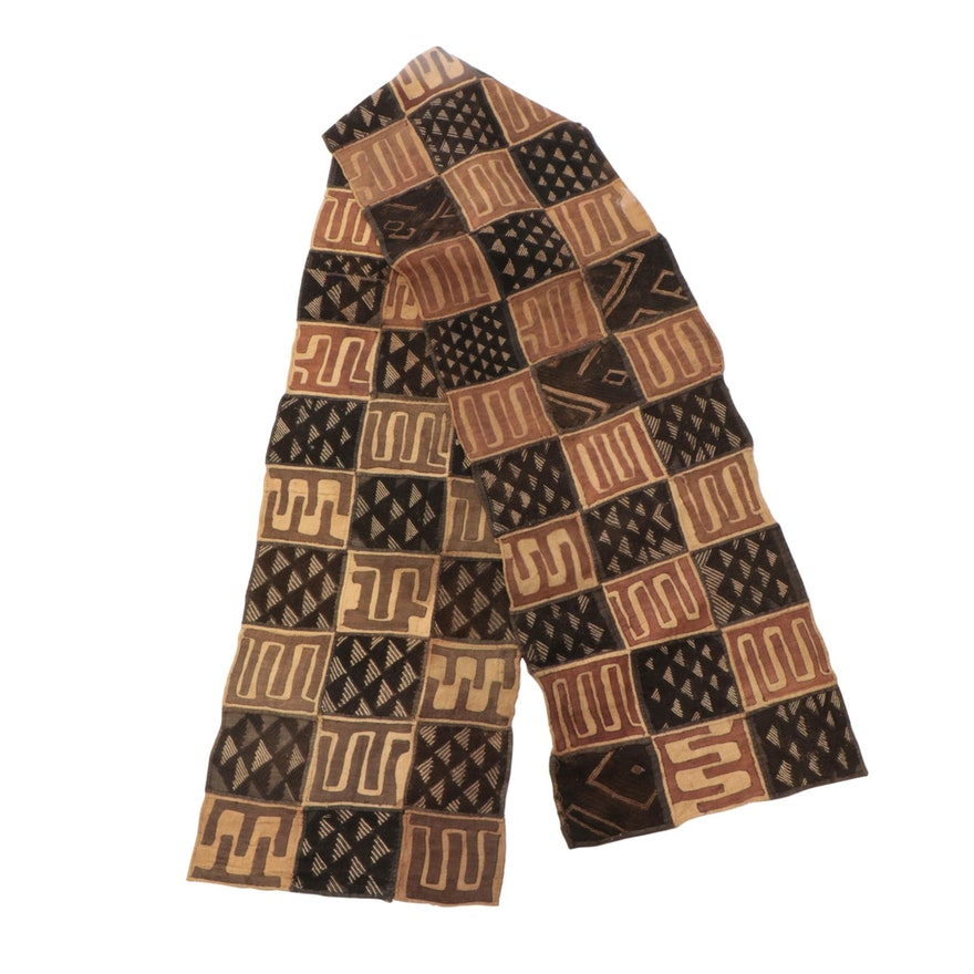African Handwoven Raffia Kuba Cloth Textile Wrapper, 20th Century