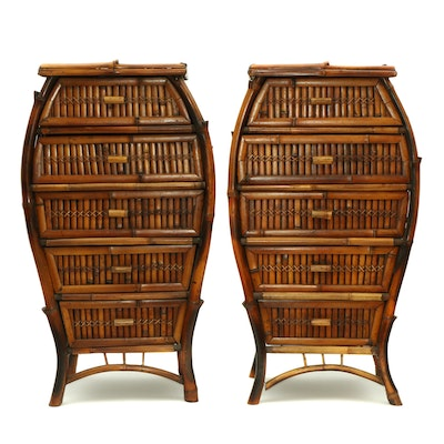Pair of Split Bamboo Chests of Drawers with Woven Wicker Tops